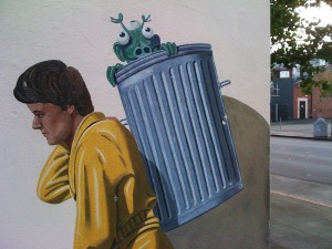 Garbage Man mural by Greg Brown