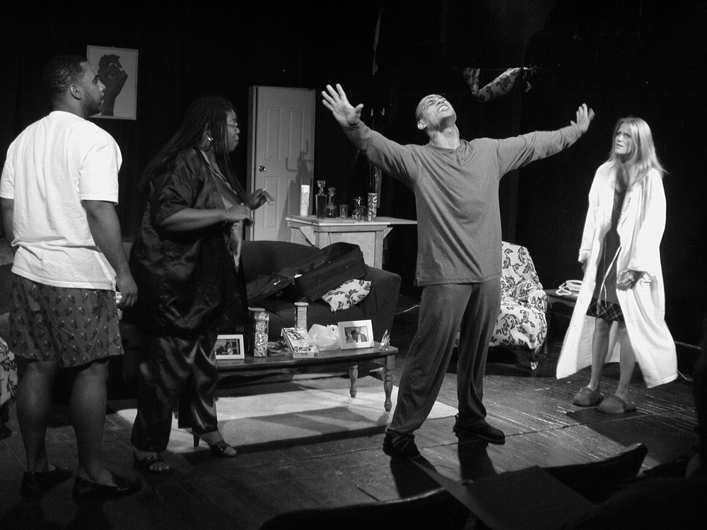 """David Grissom, Dionne Hawkins, Abraham Arello and Kim Baer in """"A Package for Max"""" at New Branch Theater Company in Chicago"""