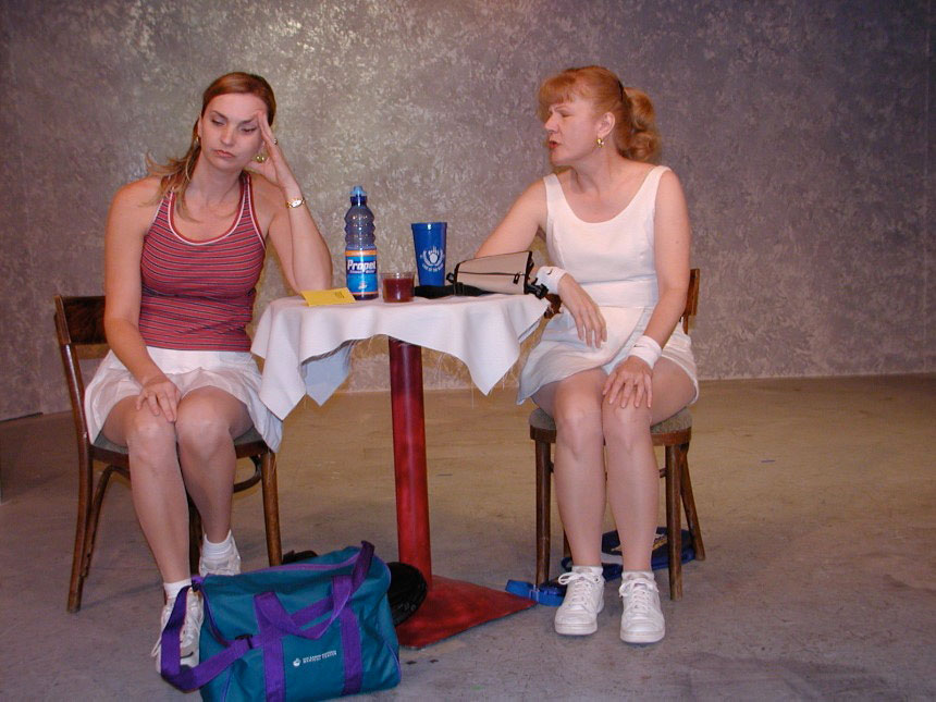 "Rhonda Joy Taylor and Dorothea Standish in John Angell Grant's play ""Skunk"" at Onstage Theater, Martinez, CA."