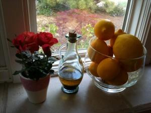 Flowers and oranges window