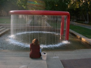 Stanford red ring fountain